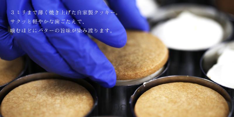 2.5mmの薄焼きクッキーで挟む